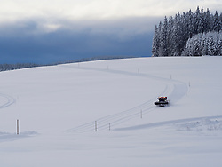 Track-setter preparing ski track Thurnerspur in the Black Forest near St. Märgen, Hochschwarzwald, Baden-Württemberg, Germany
