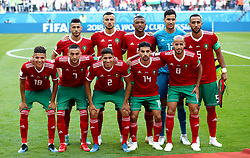 Morocco Team Shot. Front Row, left to right. Amine Harit, Hakim Ziyech, Achraf Hakimi, Mbark Boussoufa, Karim El Ahmadi. Back Row, left to right. Younes Belhanda, Romain Saiss, Ayoub El Kaabi, Munir Mohamedi and Medhi Benatia