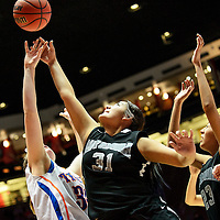 031114  Adron Gardner/Independent<br /> <br /> Miyamura Patriot Michelle Livingston (31) releases a shot over a Los Lunas Tiger during the state high school basketball tournament at The Pit in AlbuquerqueTuesday.