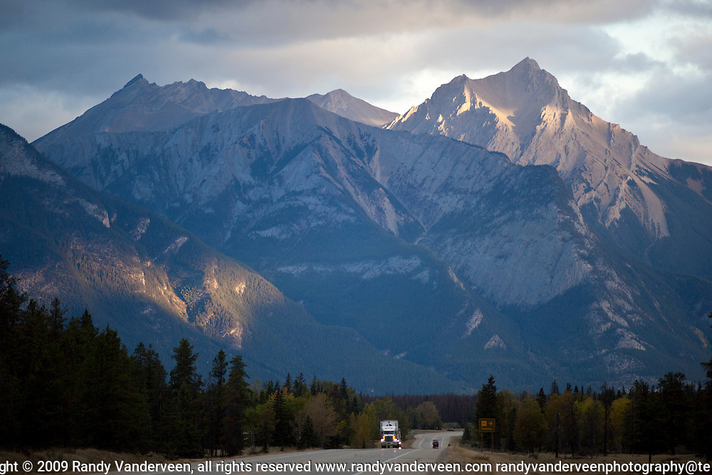 Photo Randy Vanderveen.Jasper AB.02/10/09.The Yellowhead Highway through Jasper National Park is scenic as it winds its way through the low pass into BC.