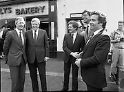Taoiseach At Kelly's Bakery Kilcock..1986..08.09.1986..09.08.1986..8th September 1986..Today the Taoiseach,Garret Fitzgerald,officially opened a new computer centre at Kelly's Bakery. The bakery is a large employer based in Kilcock,Co Kildare. Mr Fitzgerald was accompanied by the Minister for Justice,Mr Alan Dukes and Mr Bernard Durkan TD...In this photograph the Taoiseach, Garret Fitzgerald Mr Canice Kelly,Managing Director,Kelly's Bakery and General Manager,Mr Pat Smyth are joined by the Minister for Justice,Mr Alan Dukes TD and Mr Bernard Durkan TD.