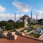 Hagia Sophia view from upper deck of the restaurant Seven Hills, Istanbul