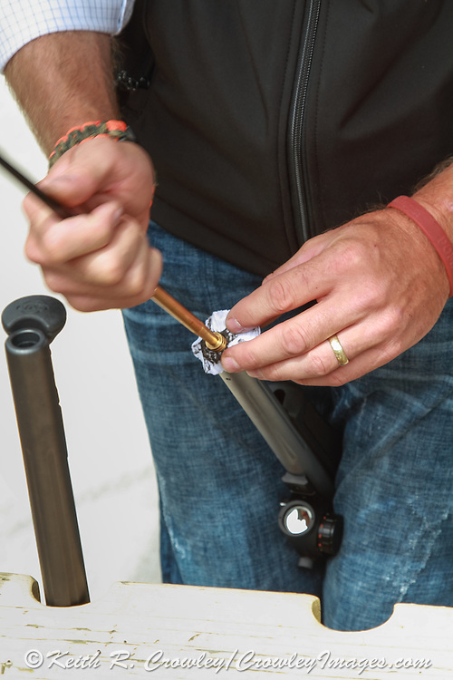 Cleaning the barrel of a muzzle loader