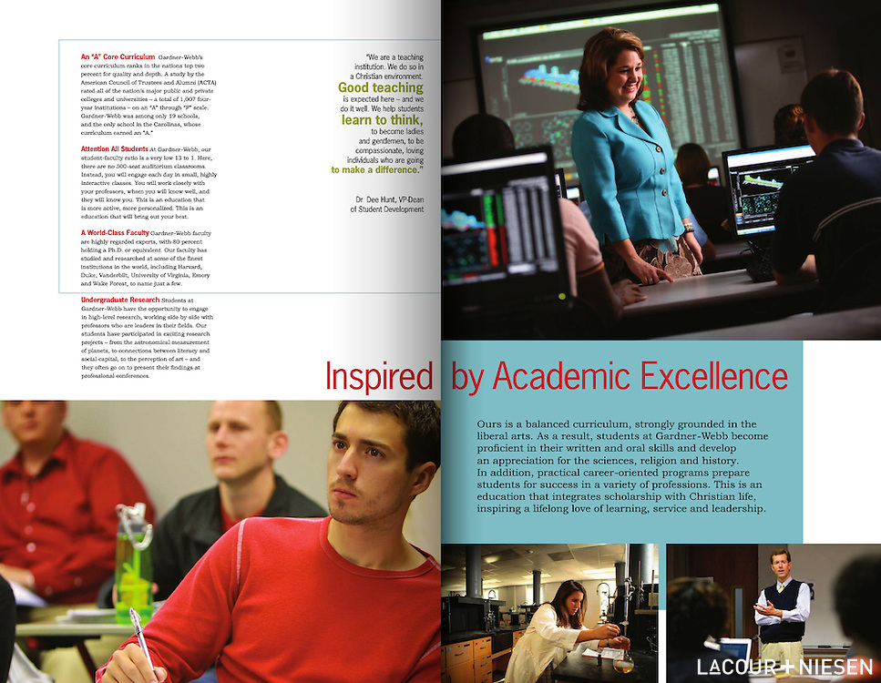 Viewbook for Gardner-Webb University, Boiling Springs, N.C. Design by Glass & Gold (glassandgold.wordpress.com)