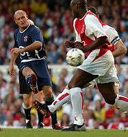 Photo. Raymond Field, Digitalsport<br /> NORWAY ONLY<br /> <br /> Martin Keown Testomonial Match<br /> <br /> Arsenal v England x1<br /> 170504<br /> <br /> Paul Gascoigne trys to score in front of Sol Campbell