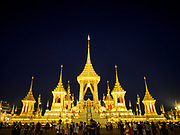 13 DECEMBER 2017 - BANGKOK, THAILAND:  The south side of the Royal Crematorium on Sanam Luang in Bangkok. The crematorium was used for the funeral of Bhumibol Adulyadej, the Late King of Thailand. He was cremated on 26 October 2017. The crematorium is open to visitors until 31 December 2017. It will be torn down early in 2018. More than 3 million people have visited the crematorium since it opened to the public after the cremation of the King.    PHOTO BY JACK KURTZ