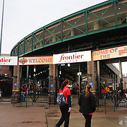 Fans arrive to Frontier Field before the Rochester Red Wings V The Scranton/Wilkes-Barre RailRiders, Minor League Baseball game at Frontier Field, Rochester, New York State. USA. 16th April 2013. Photo Tim Clayton