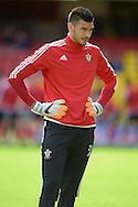 Southampton Goalkeeper Paulo Gazzaniga looks on during pre-match warm up.  Barclays Premier League, Watford v Southampton at Vicarage Road in London on Sunday 23rd August 2015.<br /> pic by John Patrick Fletcher, Andrew Orchard sports photography.