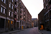 Wharf building on Wapping High Street in the East End on 4th December 2020 in London, United Kingdom.  These were once working wharf buildings, which are now residential apartments.
