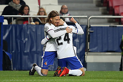 December 5, 2017 - Lisbon, Portugal - Basel's midfielder Mohamed Elyounoussi from Norway celebrates with Basel's defender Michael Lang from Suisse (L ) after scoring a goal during the UEFA Champions League Group A football match between SL Benfica and FC Basel at the Luz stadium in Lisbon, Portugal on December 5, 2017. (Credit Image: © Pedro Fiuza/NurPhoto via ZUMA Press)