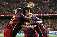 FC Barcelona's Rafinha, Neymar Junior, Leo Messi, Andres Iniesta and Geremi Mathieu  during Spanish Kings Cup Final match. May 22,2016. (ALTERPHOTOS/Rodrigo Jimenez)