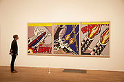 London, UK. Monday 18th February 2013. Lichtenstein: A Retrospective at  Tate Modern brings together 125 of artist Roy Lichtenstein's most definitive paintings and sculptures. Bratatat! (1962)