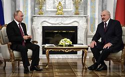 June 19, 2018 - ???, Belarus - June 19, 2018. - Belarus, Minsk. - Russian President Vladimir Putin and President of Belarus Alexander Lukashenko (right) during a meeting. (Credit Image: © face to face via ZUMA Press)