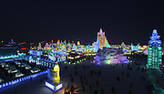 HAIBIN, CHINA - china Out - Finland Out<br /> <br /> The 30th Harbin International Ice & Snow Sculpture Festival - Opening Ceremony <br /> <br /> Visitors look at ice sculptures during the opening of the 30th Harbin International Ice & Snow Sculpture Festival on January 5, 2014 in Harbin, Heilongjiang province of China. <br /> Exclusivepix