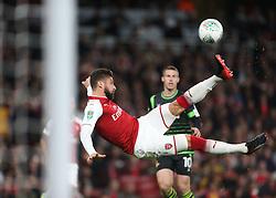 20 September 2017 London : EFL Cup Football : Arsenal v Doncaster Rovers : Olivier Giroud of Arsenal tries a spectacular overhead kick.<br /> Photo: Mark Leech