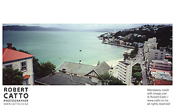 A panoramic view of Oriental Bay, from Mt Victoria, Wellington. at Oriental Bay, Wellington, New Zealand.<br />