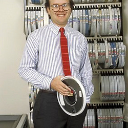 Austin, Texas JULY 1985:  A younger Karl Rove in his office in Austin, Texas where he was a Republican direct mail strategist and pollster. Photo (c) Bob Daemmrich 1985 <br /> © Bob Daemmrich