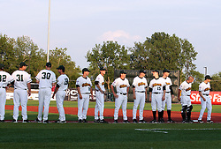 "1 June 2010: The Cornbelters line up on the 1st base line during introductions. The Windy City Thunderbolts are the opponents for the first home game in the history of the Normal Cornbelters in the new stadium coined the ""Corn Crib"" built on the campus of Heartland Community College in Normal Illinois."