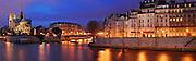 Paris By Night and La Seine panorama, france