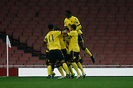 Aston Villa players celebrating after  Rushian Hepburn-Murphy scorres the first goal. U21 Barclays Premier league play off final match, Arsenal U21's v Aston Villa U21's at the Emirates Stadium in London on Tuesday 10th May 2016.<br /> pic by Steffan Bowen, Andrew Orchard sports photography.