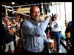May 19th, 2006. New Orleans, Louisiana. On the campaign trail. With the media in tow, Mayor Ray Nagin makes a stop at Wholefoods Supermarket in Uptown New Orleans before the run off elections tomorrow, Saturday May 20th.<br /> Photo; Charlie Varley/varleypix.com