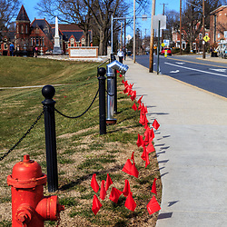 Millersville, PA / USA - February 22, 2016: Students are reminded of a toxic dating relationship that ended with a fatality that occurred on campus by red flags at the Millersville University, in Lancaster County, PA