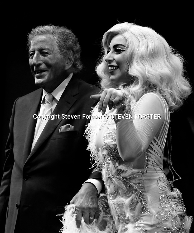 Photo by Steven Forster --  The sun and the stars came out for the thousands of Fest goers and music lovers at the 2015 New Orleans Jazz & Heritage Festival presented by Shell. Sunday April 26, 2015. Grammy winners Tony Bennett and Lady Gaga