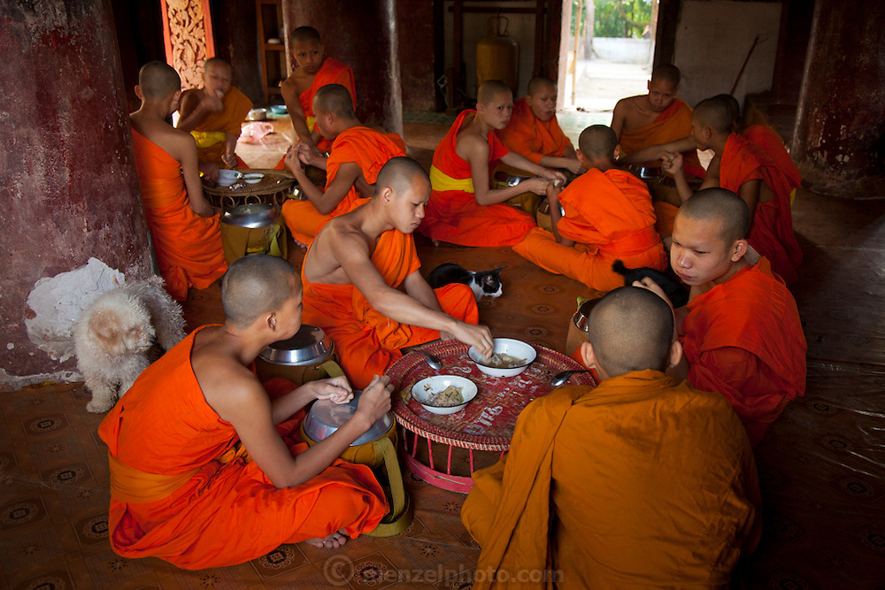 Wat Pak Khan, Luang Prabang, Laos. Monks eating after Tak Bat. Every morning at dawn, Buddhist monks walk down the streets collecting food alms from devout, kneeling Buddhists, and some tourists. They then return to their temples (also known as wats) and eat together. This procession is called Tak Bat, (Making Merit).
