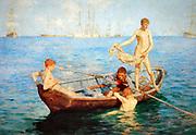 Henry Scott Tuke 1858–1929 'August Blue' 1893. Henry Scott Tuke, RA RWS (12 June 1858–13 March 1929), was a British visual artist; primarily a painter, but also a photographer