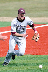 06 April 2013:  Infielder Joey Hawkins hustles to grab an infield hit during an NCAA division 1 Missouri Valley Conference (MVC) Baseball game between the Missouri State Bears and the Illinois State Redbirds in Duffy Bass Field, Normal IL