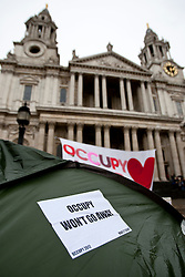 © Licensed to London News Pictures. 22/02/2012. London, UK. Occupy London Stock Exchange tents in front of St Paul's Cathedral on February 22nd 2012. Protesters at the site have been refused permission to appeal against their eviction from the Occupy London camp. Photo credit : Tolga Akmen/LNP
