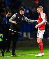 Fleetwood Town manager Joey Barton speaks to Fleetwood Town's Paul Coutts<br /> <br /> Photographer Richard Martin-Roberts/CameraSport<br /> <br /> The EFL Sky Bet League One - Bolton Wanderers v Fleetwood Town - Saturday 2nd November 2019 - University of Bolton Stadium - Bolton<br /> <br /> World Copyright © 2019 CameraSport. All rights reserved. 43 Linden Ave. Countesthorpe. Leicester. England. LE8 5PG - Tel: +44 (0) 116 277 4147 - admin@camerasport.com - www.camerasport.com