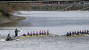 Hammersmith, Greater London, 15th March 2020, Pre  Boat Race, fixture  [R] Oxford University Women's BC second eight, Osiris,  [L] University of London Women's second Eight, passing under, Hammersmith Bridge, Championship Course, Putney to Mortlake, River Thames, [Mandatory Credit: Peter SPURRIER/Intersport Images],