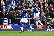 Arouna Kone of Everton (l) celebrates after scoring his teams 2nd goal. Barclays Premier League match, Everton v Sunderland at Goodison Park in Liverpool on Sunday 1st November 2015.<br /> pic by Chris Stading, Andrew Orchard sports photography.