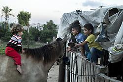 October 23, 2016 - Beit Lahiya, The Gaza Strip, Palestine - Palestinian kids from Beit Lahiya city northern the Gaza Strip. (Credit Image: © Mahmoud Issa/Quds Net News via ZUMA Wire)