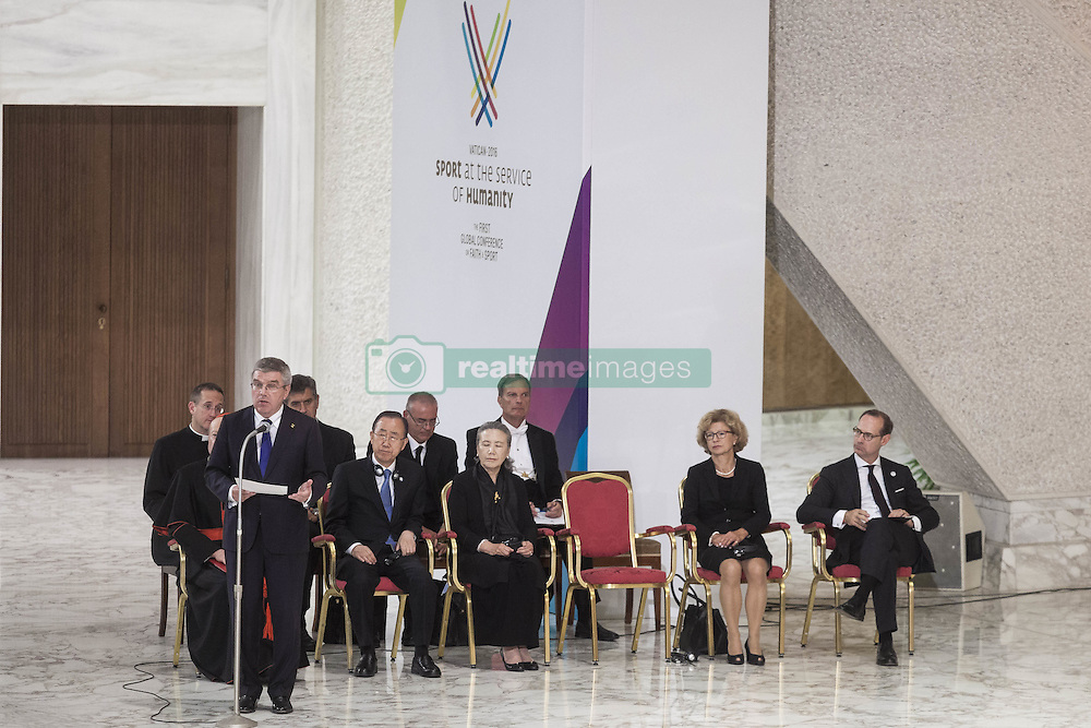 October 5, 2016 - Vatican City, Vatican - International Olympic Committee President Thomas Bach speaks during the International conference ''Sport at the Service of Humanity'', the first global conference on faith and sport promoted by the Vatican Pontifical Council for Culture, in the Paul VI hall in Vatican City, Vatican on October 05, 2016. (Credit Image: © Giuseppe Ciccia/Pacific Press via ZUMA Wire)