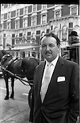 10/09/1962<br /> 09/10/1962<br /> 10 September 1962<br /> Picture Of I.A.T.A. delegate Mr Laker outside the Shelbourne Hotel Dublin, with a horse and cab behind.