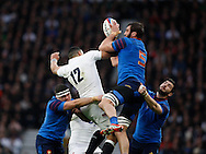 Yoann Maestri of France (5) wins a high ball from Luther Burrell of England (12) during the RBS 6 Nations match at Twickenham Stadium, Twickenham<br /> Picture by Andrew Tobin/Focus Images Ltd +44 7710 761829<br /> 21/03/2015