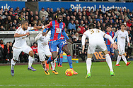 Crystal Palace's Emmanuel Adebayor runs at the Swansea defence. Barclays Premier league match, Swansea city v Crystal Palace at the Liberty Stadium in Swansea, South Wales on Saturday 6th February 2016.<br /> pic by David Richards, Andrew Orchard sports photography.