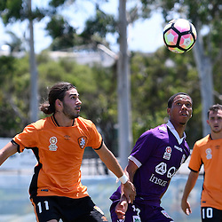 BRISBANE, AUSTRALIA - JANUARY 8: Jamal Reiners of the Glory and Jayden Prasad of the Roar compete for the ball during the round 8 Foxtel National Youth League match between the Brisbane Roar and Perth Glory at AJ Kelly Field on January 8, 2017 in Brisbane, Australia. (Photo by Patrick Kearney/Brisbane Roar)