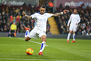 Danny Simpson of  Leicester city in action. Barclays Premier league match, Aston Villa v Leicester city at Villa Park in Birmingham, The Midlands on Saturday 16th January 2016.<br /> pic by Andrew Orchard, Andrew Orchard sports photography.