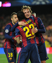 Barcelona's Ivan Rakitic celebrates his goal with Barcelona's Daniel Alves - Photo mandatory by-line: Dougie Allward/JMP - Mobile: 07966 386802 - 18/03/2015 - SPORT - Football - Barcelona - Nou Camp - Barcelona v Manchester City - UEFA Champions League - Round 16 - Second Leg