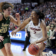 Morgan Tuck, (right), UConn, in action defended by Laura Ferreira, USF, during the UConn Huskies Vs USF Bulls 2016 American Athletic Conference Championships Final. Mohegan Sun Arena, Uncasville, Connecticut, USA. 7th March 2016. Photo Tim Clayton