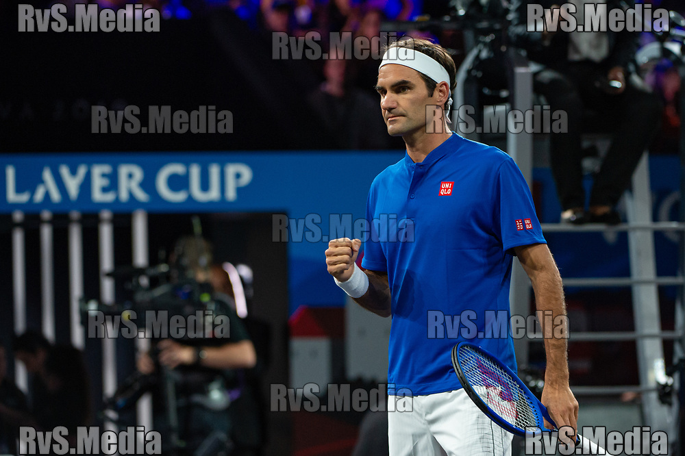GENEVA, SWITZERLAND - SEPTEMBER 20: Roger Federer of Team Europe reacts during Day 1 of the Laver Cup 2019 at Palexpo on September 20, 2019 in Geneva, Switzerland. The Laver Cup will see six players from the rest of the World competing against their counterparts from Europe. Team World is captained by John McEnroe and Team Europe is captained by Bjorn Borg. The tournament runs from September 20-22. (Photo by Robert Hradil/RvS.Media)