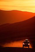 Alaska. Driving along the Dalton Highway, sunset.