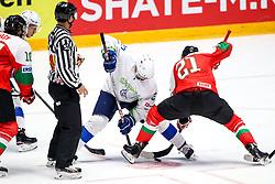 Bostjan Golicic of Slovenia and Janos Vas of Hungaryduring ice hockey match between Hunngary and Kazakhstan at IIHF World Championship DIV. I Group A Kazakhstan 2019, on May 3, 2019 in Barys Arena, Nur-Sultan, Kazakhstan. Photo by Matic Klansek Velej / Sportida