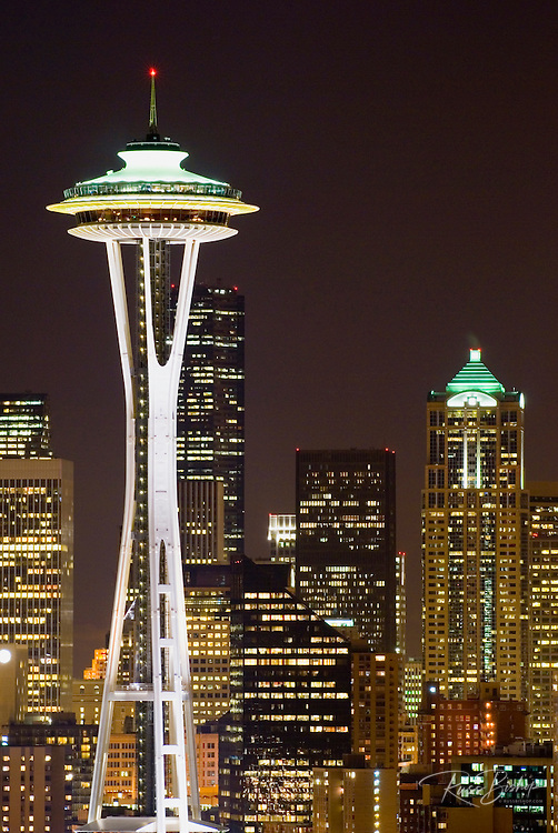 The Space Needle and downtown buildings at night, Seattle, Washington USA