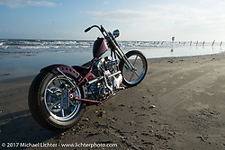 First place $10,000 winner - Don's Custom Cycle's Donny Loos' In Motion Bike Show custom Shovelhead on the beach during the Lone Star Rally. Galveston, TX. USA. Sunday November 5, 2017. Photography ©2017 Michael Lichter.