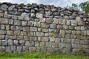 Hadrian's Wall, blockstone construction boundary in Northumberland National Park at Walltown Crags, England