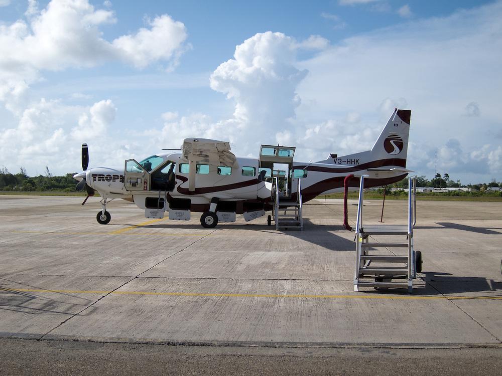 Belize City, Belize 8/31/2012.Tropic Air operates a fleet of Cessna Grand Caravans that connect Belize City with the islands of Ambergris Caye and Caye Caulker..Alex Jones / www.alexjonesphoto.com
